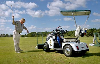 Hi-tech cart lets stroke survivor continue golfing - SoloRider: The on single rider golf car, single passenger golf carts, solo rider golf carts,
